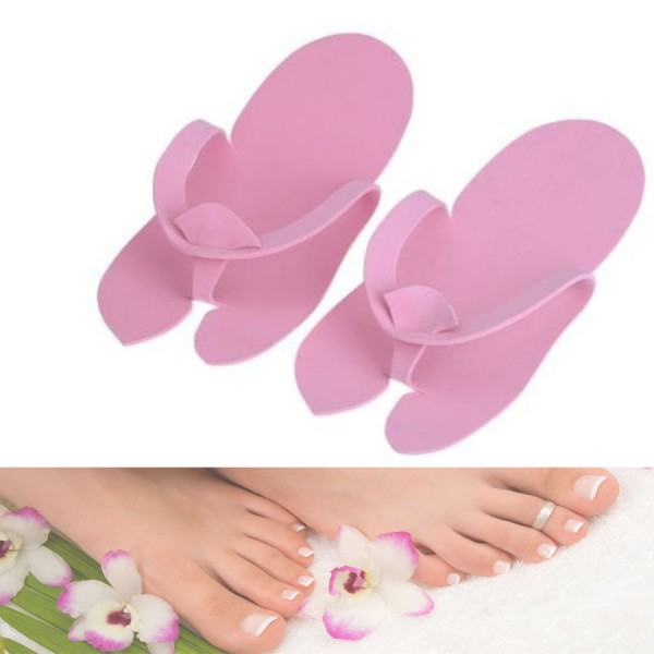 2 Pairs Disposable Foam Pedicure Travel Slippers Flip Flop Foot Spa