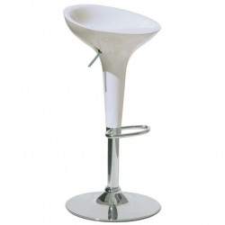 White Plastic BAR STOOL BOMBO BAMBOO Style Gas Lift