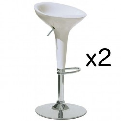 2x White Plastic BAR STOOL BOMBO BAMBOO Style Gas Lift