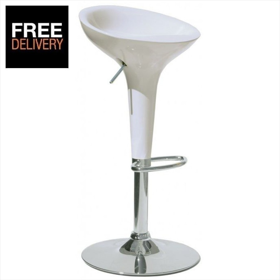 White Plastic Bar Stool Bombo Bamboo Style Gas Lift Ebay
