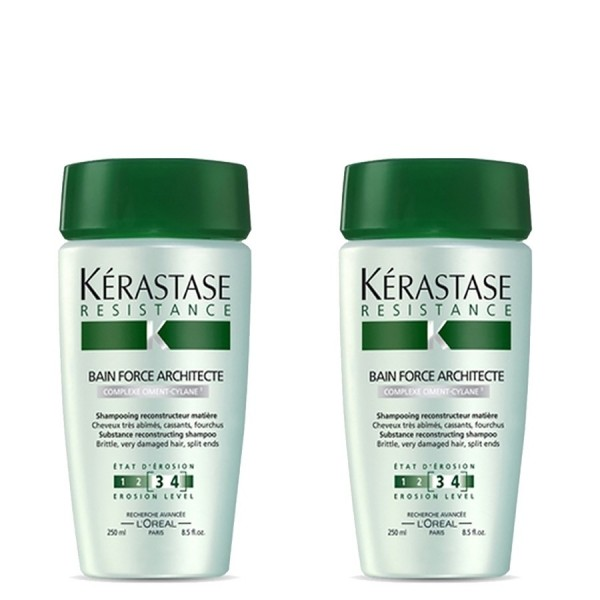 2x Kerastase Resistance Bain Force Architecte Shampoo 250ml